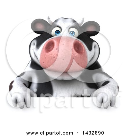 Clipart of a 3d Chubby Cow over a Sign, on a White Background - Royalty Free Illustration by Julos