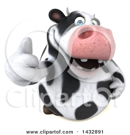 Clipart of a 3d Chubby Cow Holding up a Thumb, on a White Background - Royalty Free Illustration by Julos