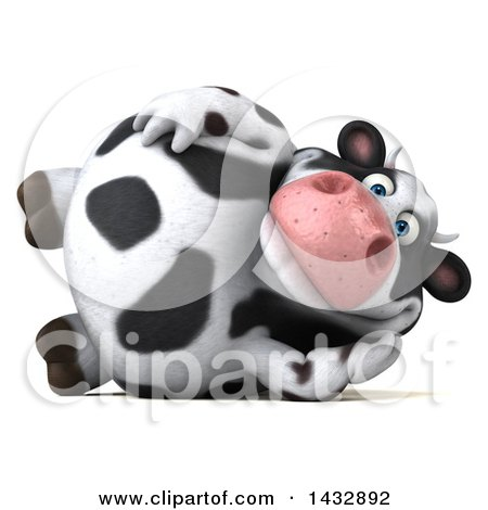 Clipart of a 3d Chubby Cow Resting on His Side, on a White Background - Royalty Free Illustration by Julos