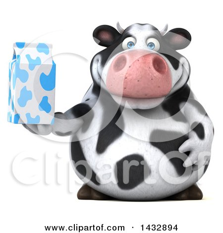 Clipart of a 3d Chubby Cow Holding a Milk Carton, on a White Background - Royalty Free Illustration by Julos