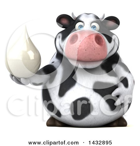 Clipart of a 3d Chubby Cow Holding a Milk Drop, on a White Background - Royalty Free Illustration by Julos