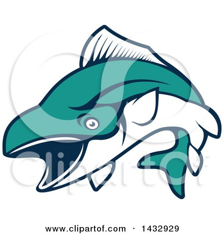 Clipart of a White and Turquoise Jumping Tuna Fish - Royalty Free Vector Illustration by Vector Tradition SM