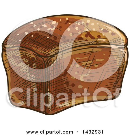 Clipart of a Sketched Loaf of Whole Grain Rye Bread - Royalty Free Vector Illustration by Vector Tradition SM
