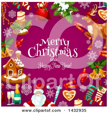 Clipart of a Merry Christmas and Happy New Year Greeting and Border of Festive Icons on Purple - Royalty Free Vector Illustration by Vector Tradition SM
