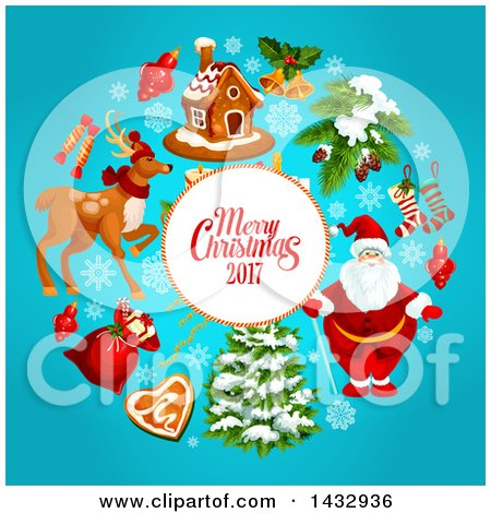 Clipart of a Merry Christmas 2017 Greeting and Holiday Icons on Blue - Royalty Free Vector Illustration by Vector Tradition SM