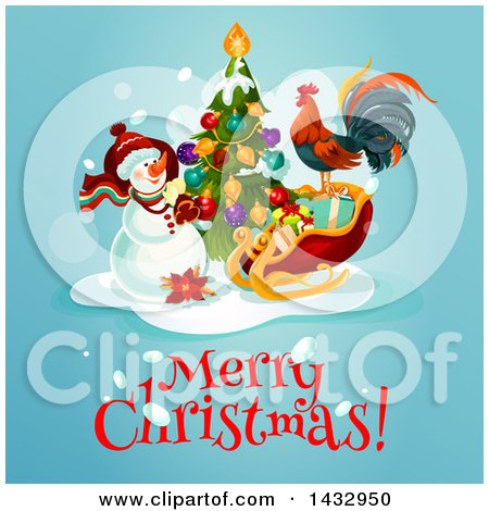 Clipart of a Merry Christmas Greeting with a Snowman, Tree, Rooster and Sleigh on Blue - Royalty Free Vector Illustration by Vector Tradition SM
