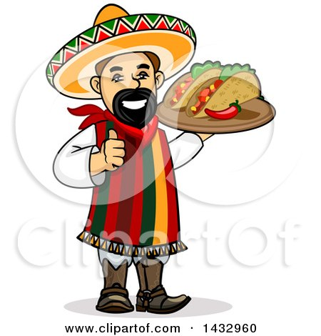 Clipart of a Cartoon Happy Male Hispanic Chef Giving a Thumb up and Holding a Tray with a Spicy Pepper and Tacos - Royalty Free Vector Illustration by Vector Tradition SM