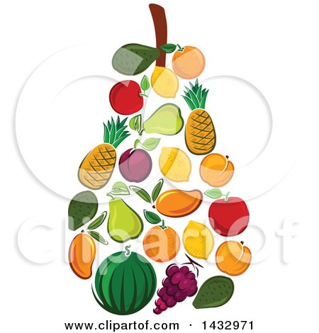 Clipart of a Pear Formed of Fruits - Royalty Free Vector Illustration by Vector Tradition SM
