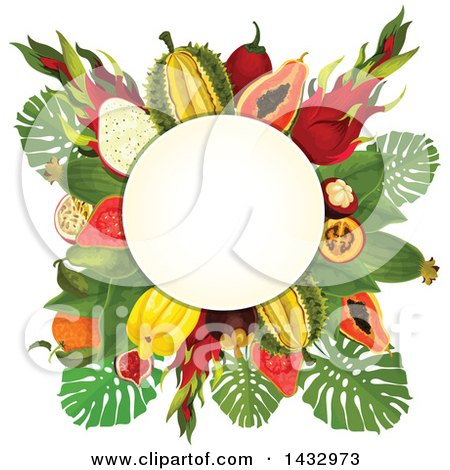 Clipart of a Tropical Fruit Design Label with Text Space - Royalty Free Vector Illustration by Vector Tradition SM