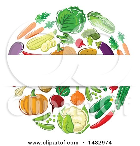 Clipart of a Blank Label over a Circle of Veggies - Royalty Free Vector Illustration by Vector Tradition SM