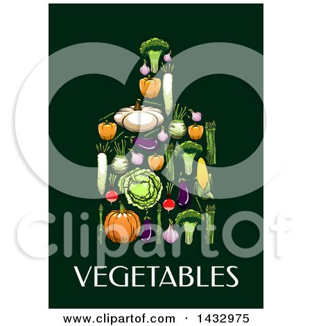Clipart of a Cutting Board Formed of Produce over Text on a Dark Background - Royalty Free Vector Illustration by Vector Tradition SM