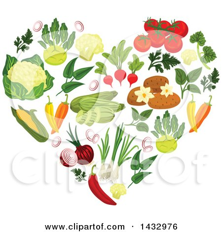 Clipart of a Heart Formed of Vegetables - Royalty Free Vector Illustration by Vector Tradition SM