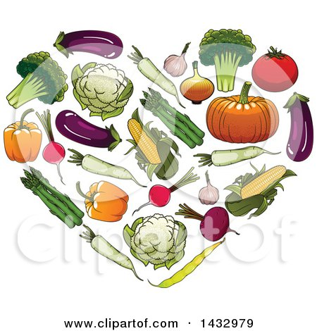 Clipart of a Heart Formed of Veggies - Royalty Free Vector Illustration by Vector Tradition SM