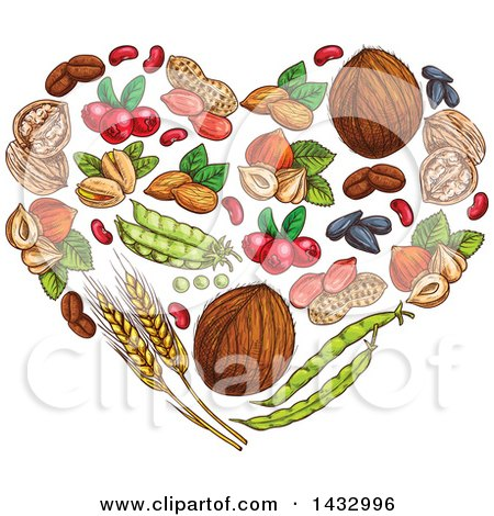 Clipart of a Sketched Heart Made of Fruits and Nuts - Royalty Free Vector Illustration by Vector Tradition SM