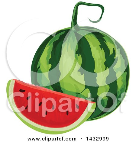 Clipart of a Watermelon and Wedge - Royalty Free Vector Illustration by Vector Tradition SM