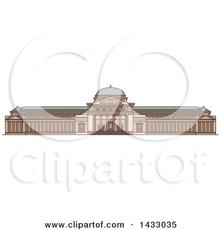 Clipart of a Line Drawing Styled American Landmark, Museum of Science and Industry - Royalty Free Vector Illustration by Vector Tradition SM