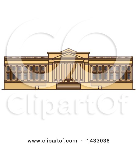 Clipart of a Line Drawing Styled American Landmark, Museum of Art - Royalty Free Vector Illustration by Vector Tradition SM