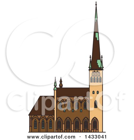 Clipart of a Line Drawing Styled Estonia Landmark, Saint Olaf Church - Royalty Free Vector Illustration by Vector Tradition SM