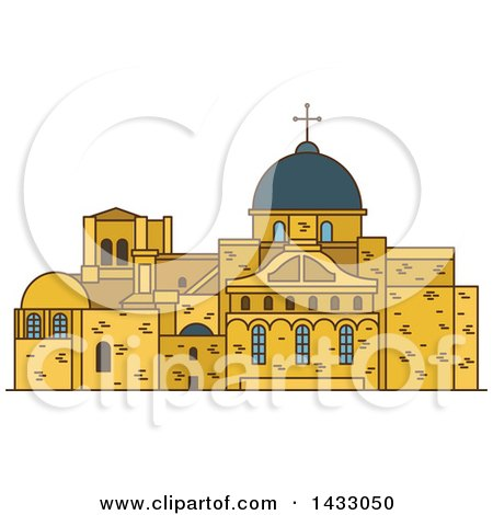 Clipart of a Line Drawing Styled Israel Landmark, Church of the Holy Sepulchre - Royalty Free Vector Illustration by Vector Tradition SM