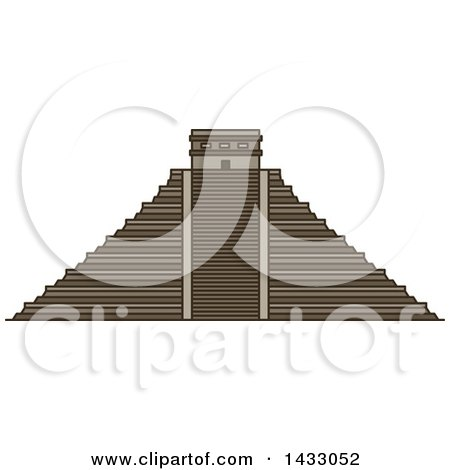 Clipart of a Line Drawing Styled Mexican Landmark, Chichen Itza - Royalty Free Vector Illustration by Vector Tradition SM