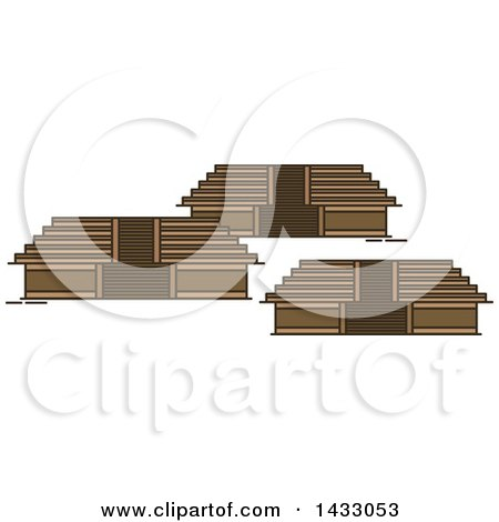 Clipart of a Line Drawing Styled Mexican Landmark, Teotihuacan - Royalty Free Vector Illustration by Vector Tradition SM