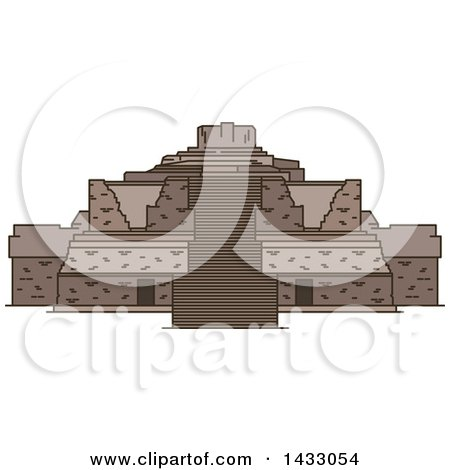 Clipart of a Line Drawing Styled Mexican Landmark, Ek Balam - Royalty Free Vector Illustration by Vector Tradition SM