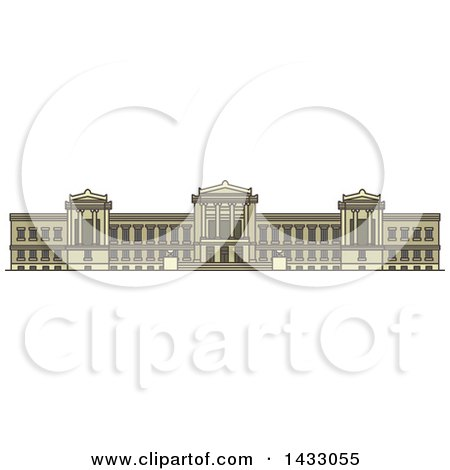 Clipart of a Line Drawing Styled American Landmark, Museum of Fine Arts - Royalty Free Vector Illustration by Vector Tradition SM