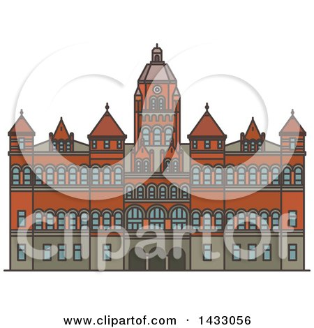 Clipart of a Line Drawing Styled American Landmark, Old Red Museum of Dallas - Royalty Free Vector Illustration by Vector Tradition SM