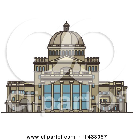 Clipart of a Line Drawing Styled American Landmark, the First Church of Christ - Royalty Free Vector Illustration by Vector Tradition SM