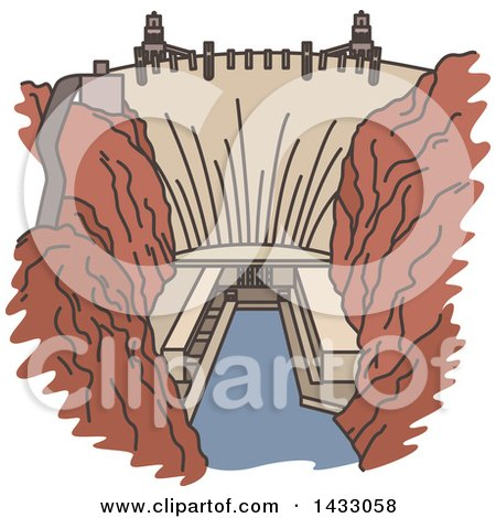 Clipart of a Line Drawing Styled American Landmark, Hoover Dam - Royalty Free Vector Illustration by Vector Tradition SM