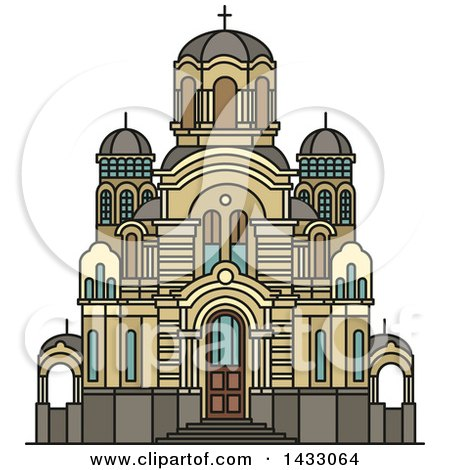 Clipart of a Line Drawing Styled Latvia Landmark, Nativity of Christ Cathedral - Royalty Free Vector Illustration by Vector Tradition SM
