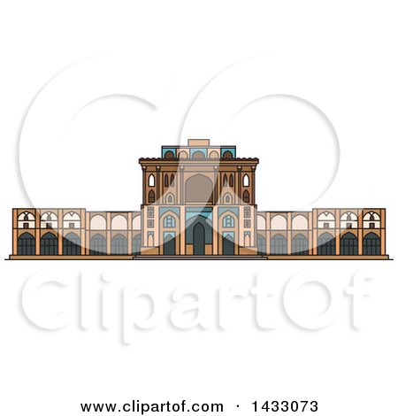 Clipart of a Line Drawing Styled Iran Landmark, Ali Qapu Palace - Royalty Free Vector Illustration by Vector Tradition SM