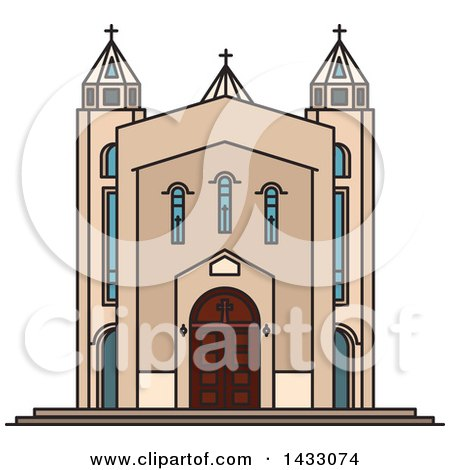 Clipart of a Line Drawing Styled Iran Landmark, Saint Sarkis Cathedral - Royalty Free Vector Illustration by Vector Tradition SM