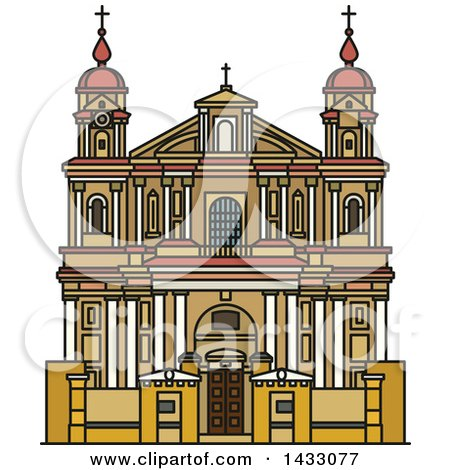 Clipart of a Line Drawing Styled Lithuanian Landmark, Church of St. Peter and St. Paul - Royalty Free Vector Illustration by Vector Tradition SM