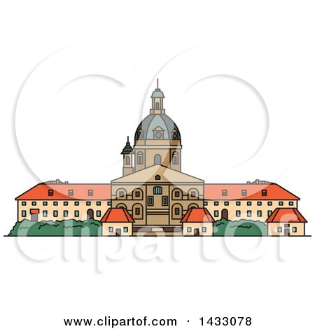 Clipart of a Line Drawing Styled Lithuanian Landmark, Kaunas Cathedral Basilica - Royalty Free Vector Illustration by Vector Tradition SM