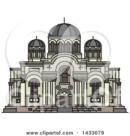 Clipart of a Line Drawing Styled Lithuanian Landmark, Church of St. Michael Archangel - Royalty Free Vector Illustration by Vector Tradition SM