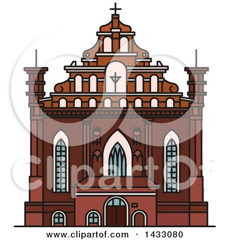 Clipart of a Line Drawing Styled Lithuanian Landmark, Church of St. Francis and St. Bernard - Royalty Free Vector Illustration by Vector Tradition SM