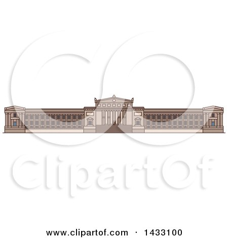 Clipart of a Line Drawing Styled American Landmark, Field Museum of Natural History - Royalty Free Vector Illustration by Vector Tradition SM