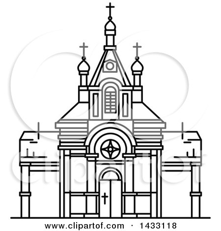 Clipart of a Black and White Line Drawing Styled Egyptian Landmark, Saint Virgin Mary Church - Royalty Free Vector Illustration by Vector Tradition SM