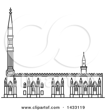 Clipart of a Black and White Line Drawing Styled Egyptian Landmark, Al-Hussein - Royalty Free Vector Illustration by Vector Tradition SM
