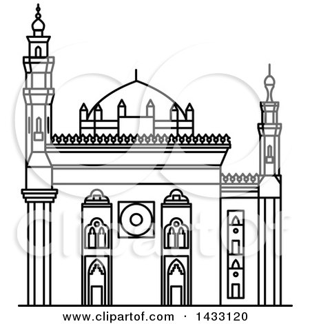 Clipart of a Black and White Line Drawing Styled Egyptian Landmark, Mosque-Madrassa of Sultan Hassan - Royalty Free Vector Illustration by Vector Tradition SM