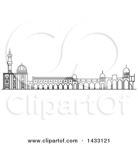 Clipart of a Black and White Line Drawing Styled Egyptian Landmark, Al-Azhar Mosque - Royalty Free Vector Illustration by Vector Tradition SM