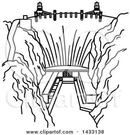 Clipart of a Black and White Line Drawing Styled American Landmark, Hoover Dam - Royalty Free Vector Illustration by Vector Tradition SM