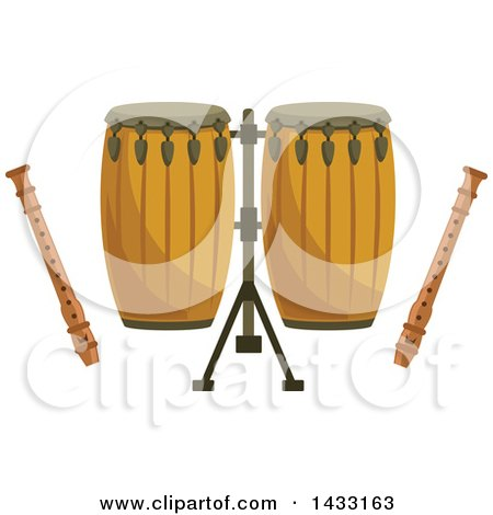 Clipart of Conga Drums and Recorders - Royalty Free Vector Illustration by Vector Tradition SM