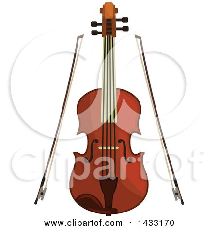 Clipart of a Violin and Bows - Royalty Free Vector Illustration by Vector Tradition SM