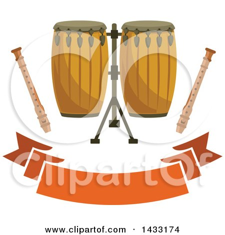 Clipart of Conga Drums and Recorders over a Blank Banner - Royalty Free Vector Illustration by Vector Tradition SM
