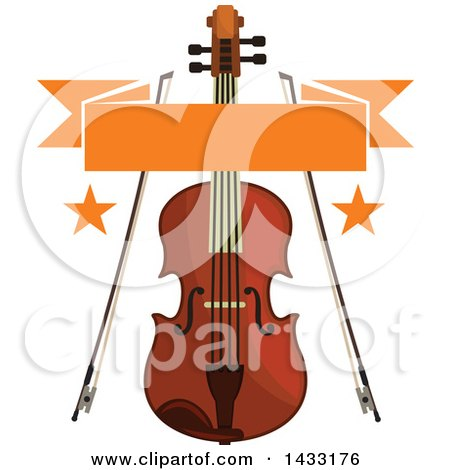 Clipart of a Violin and Bows with Stars and a Banner - Royalty Free Vector Illustration by Vector Tradition SM