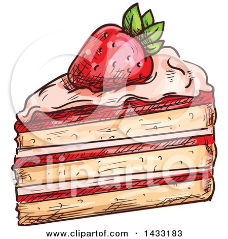 Clipart of a Sketched Slice of Strawberry Cake - Royalty Free Vector Illustration by Vector Tradition SM