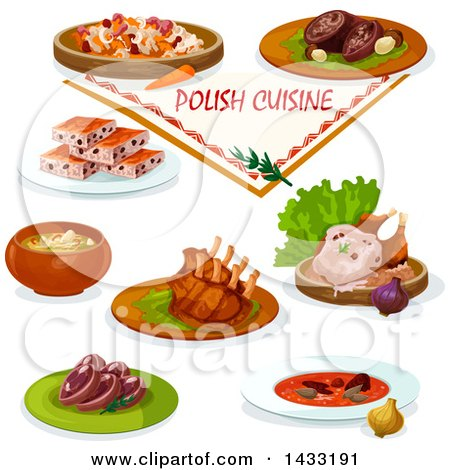 Clipart of Polish Cuisine, with Text - Royalty Free Vector Illustration by Vector Tradition SM