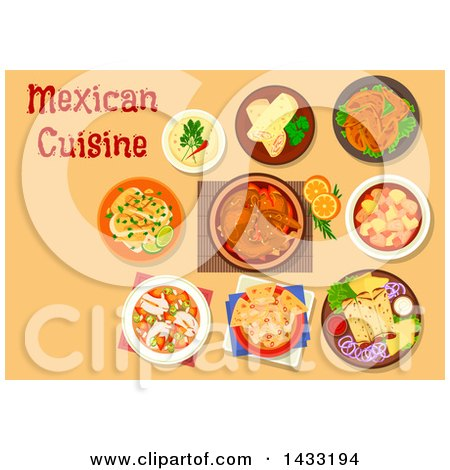 Clipart of a Table Set with Mexican Cuisine, with Text - Royalty Free Vector Illustration by Vector Tradition SM